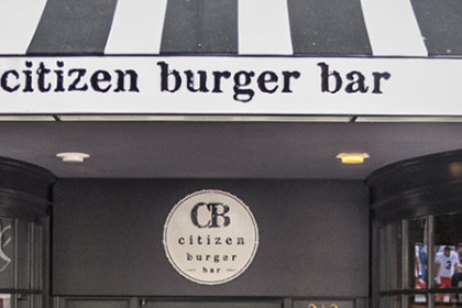 Citizen Burger Bar logo (round circle with CB Burger Bar) and grey & white strip awning with restaurant name