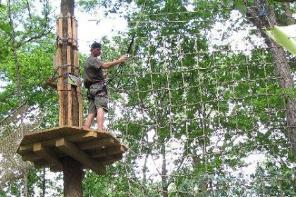 Person standing on high platform in tree tops