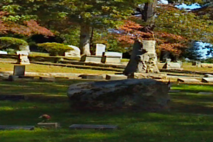 Photo of cemetery's green lawn and headstones