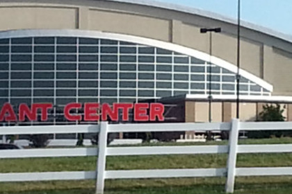 Exterior of Hershey Giant Center with curved roof line