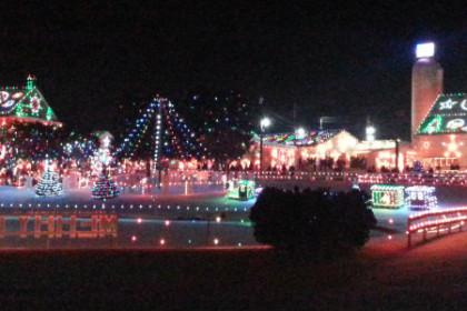 Christmas village with christmas lights at night