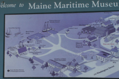 sign and map of Maine Maritime Museum