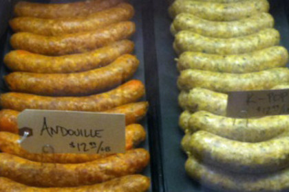 4 types of sausages on display