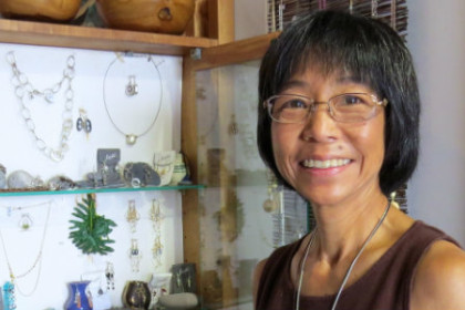 Renee Fukumoto-Ben showcases the beautiful jewelry made by local Hawaiian artists.