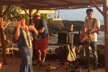 Hawaiian music at local restaurant on beach