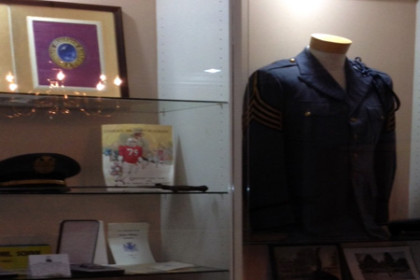 The glass display cabinets in the administration building show academy living: uniforms, awards, etc.