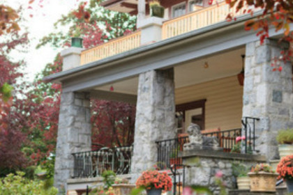 Front Porch with large granite columns
