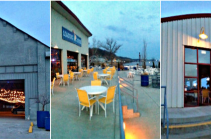 collage of 3 images of a steel sided building with large open doors and outdoor dining