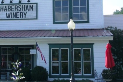 White building with Habersham Winery on sign over porch