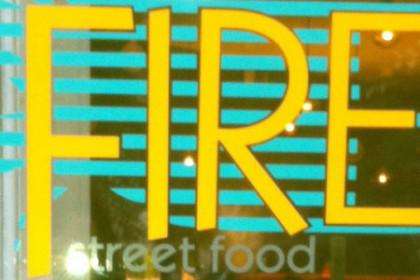 Yellow Lettering Fire with Turquoise Lines and Grey Street Food