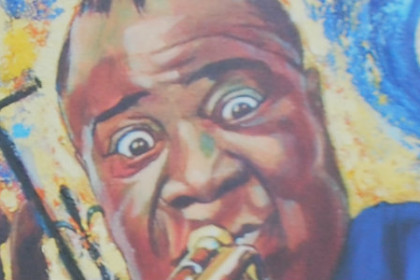 Colorful painting of Satchmo