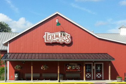 photo of Lehman's in Kidron. Large red barnlike building with a Lehman's sign on front.