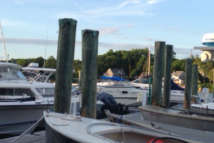 Marina view at Shuckers with boats tied to the dock