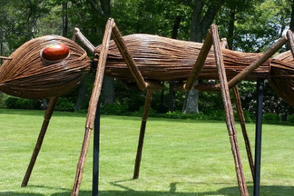 Giant brown wooden ant sculpture on green lawn with man in red sweater.