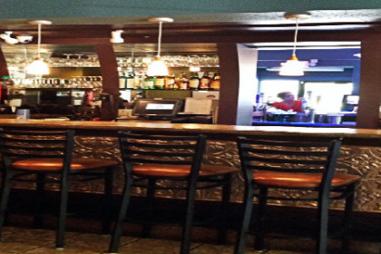 Bar with stools and pendant lighting