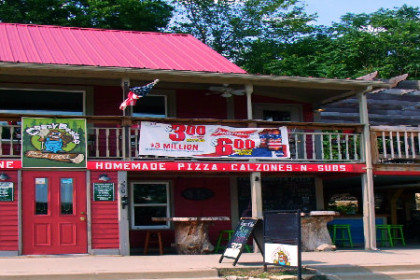 Front view of Crazy Beaver Pizza Lodge