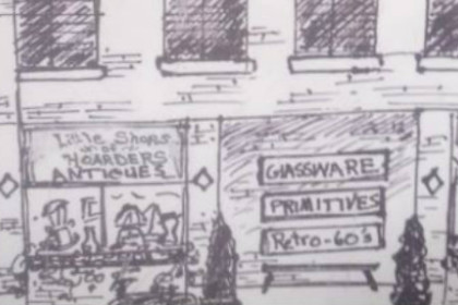 Drawing of the storefront of Little Shop of Hoarders