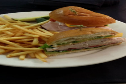A plate with Roast Turkey sandwich and fries