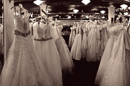 Racks of bridal gowns