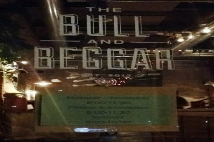 Front Door with name Bull and Begger