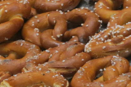 Sourdough hard pretzels fresh from the oven.