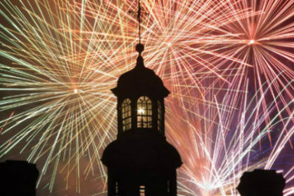 fireworks behiind church steeple