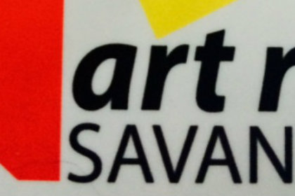 art rise SAVANNAH in black letters with red triangle and yellow accent