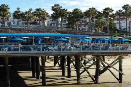 Restaurant on deck over ocean shore