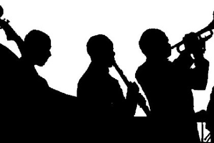 black and white sillouette of jazz band performers