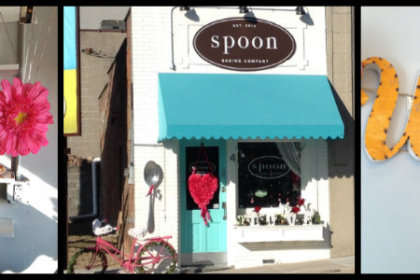 welcome sign, front door, and inside the bakery