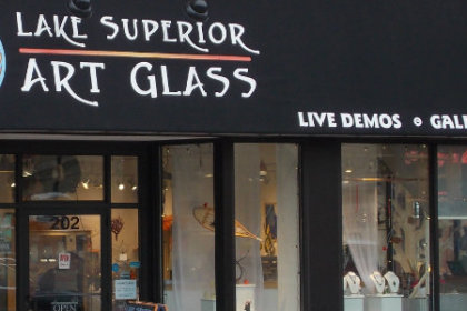 The store front at Lake Superior Art Glass in downtown Duluth Minnesota