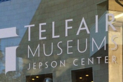 Glass door with Telfair Museum Jepson Center in white lettering