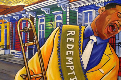 very colorful painting of GDA with his trombone walking through the streets of Treme, equally colorful houses in the background
