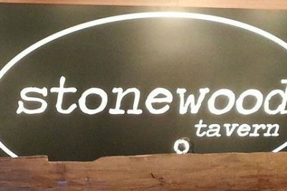 wooden framed signed with the word stonewood