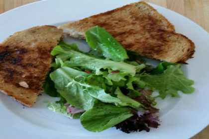 Toasted Sandwich on white plate with french fries in anterior aspect of plate.
